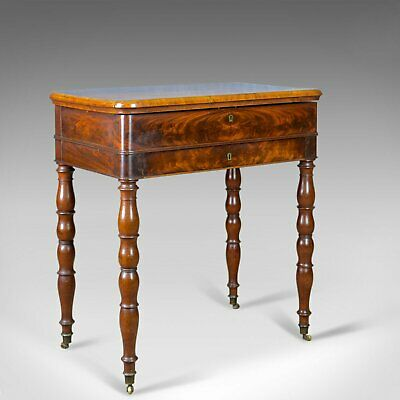Antique Sewing Table, English, Victorian, Flame Mahogany, Side, C19th, c.1840