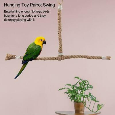 Parrot Birds Perch Play Toy Stand Holder Natural Wooden Swing Bell Cage Hanging