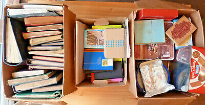 WORLDWIDE HUGE STAMP ESTATE COLLECTION *3x LARGE BOX!*- 23x OLD ALBUM 535 PIC