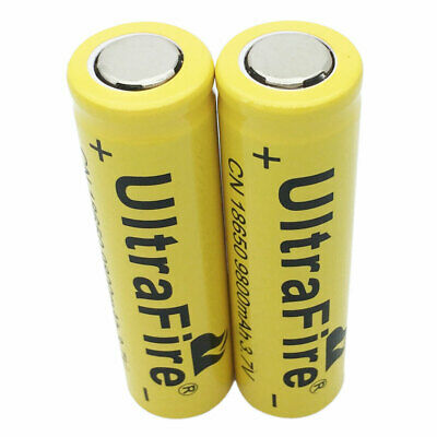 2X18650 3.7V 9800mAh Li-ion Rechargeable Battery Flat Top for Flashlight Torch