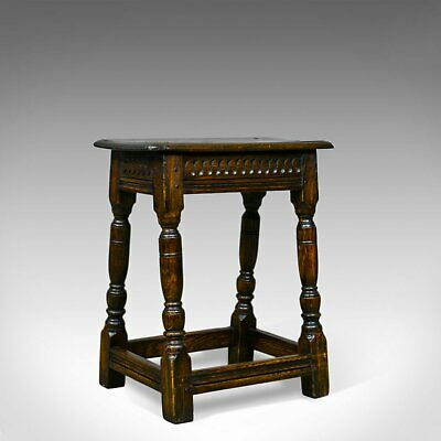 Antique Joint Stool, English, Oak, Victorian, Jacobean Revival, Circa 1900