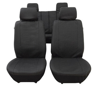 Universal Heavy Duty Faux Leather Car Seat Covers Full Set 9Pcs Black