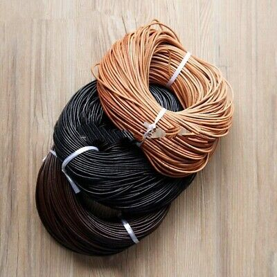 100% Genuine Leather Round Thong Cord Leather Cord String Rope 1/1.5/2/3/4/5mm