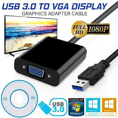 USB 3.0 A Male to VGA 15 pin Female Video Display External Cable Cord Adapter
