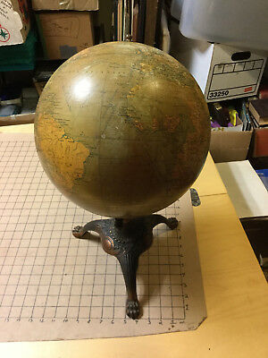 "1920's HAMMOND Antique 12"" TERRESTRIAL GLOBE w STEAMSHIP ROUTES cast footed base"