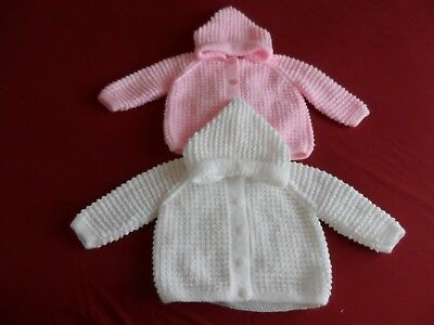 TWO HAND KNITTED  PRAM JACKETS with ATTACHED HOOD.