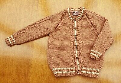 """Brown Hand Knitted Baby Cardigan, 12-18 Months, Chest 21"""" (52cm) 100% Acrylic DK"""