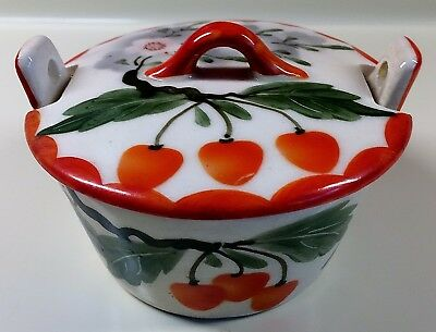 Unusual~CZECH POTTERY~Erphila CHERRY BLOSSOMS BUTTER TUB Covered Dish or Bowl