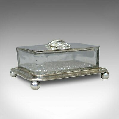 Antique Caviar Dish, English, Crystal Glass, Silver Plated, Thomas Prime, c.1880