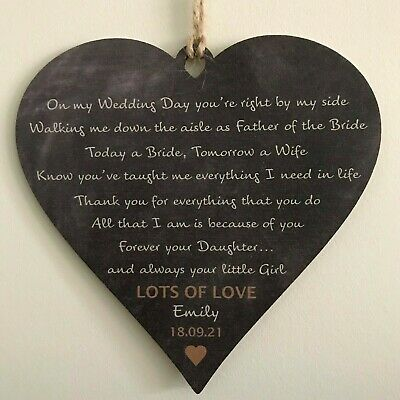 Father of the Bride Gift Wedding Favours Personalised FOB Dad Daughter Keepsake
