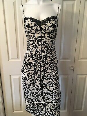 06aaacd6 Nicole Miller Collection Silk Sheath Bodycon Dress 2 Black White VGUC