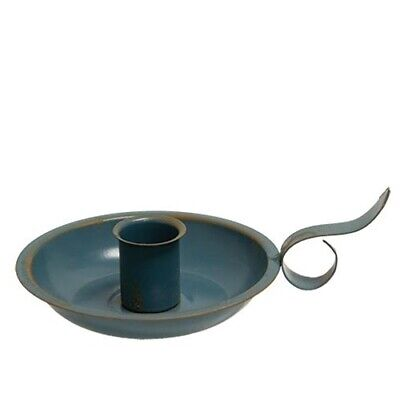 New Primitive Rustic AGED COUNTRY BLUE TAPER CANDLE HOLDER Metal Courting Pan