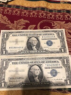 Lot of 2 1957 A $1 Dollar Bill US Consecutive Uncirculated Legal Money Blue Seal