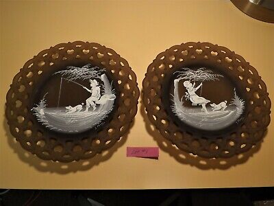 Westmoreland Mary Gregory Brown Mist boy and girl Summer scene pair of plates #1