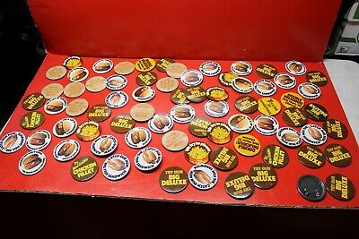 Vintage Pinback Buttons Carl's Hardee's Restaurant Lot of 76 ......WOW!