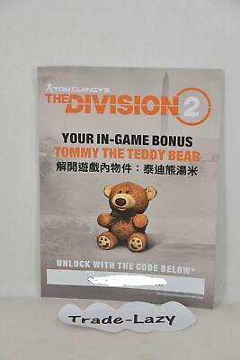 PC XBox One PS4 The Division 2  TOMMY Teddy Bear in-game Bonus DLC