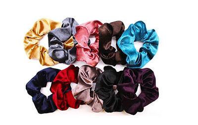 10Pcs Elastic Hair Band Velvet Scrunchies Ponytail Holder Women Wide Hair Rope