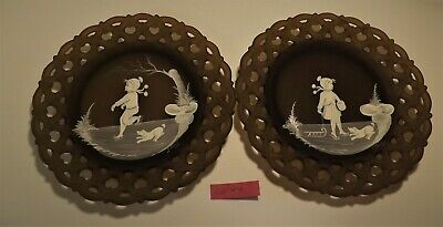 Westmoreland Mary Gregory Brown Mist boy and girl Winter scene pair of plates #4