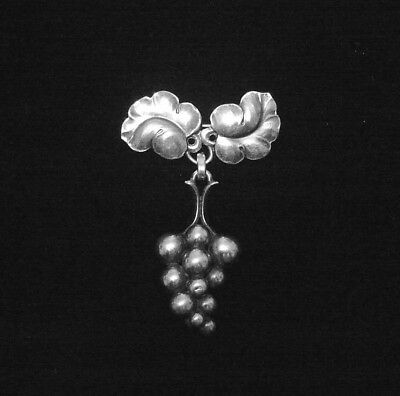 8c0ae3bd7d18 VINTAGE GEORG JENSEN STERLING DENMARK dangling GRAPES PIN 217A ...
