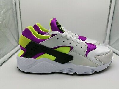 b8d33bb7963 NIKE AIR HUARACHE Run  91 QS UK 7.5 White Black Neon Yellow AH8049 ...