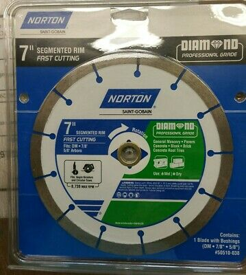 "Norton 7"" 180mm Wet Or Dry Cut Segmented Diamond Circular Saw Blade Brand New"