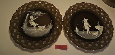 Westmoreland Mary Gregory Brown Mist girl Winter and Summer pair of plates #4