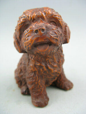 Collectible Old Chinese Boxwood Handwork Dog Rare Antique Netsuke Statue