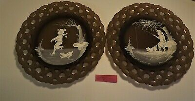 Westmoreland Mary Gregory Brown Mist boy Summer scenes pair of plates #6