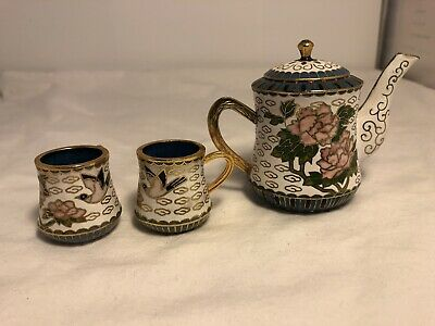 Miniature Chinese Enameled floral cloisonne Tea Set with 2 Cups
