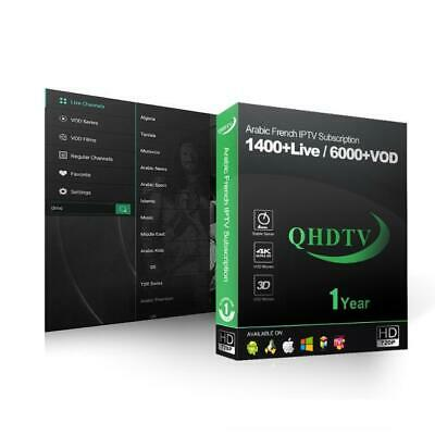 IPTV ACCOUNT QHDTV 1 year with 1400 Plus Channels Best Arabic and