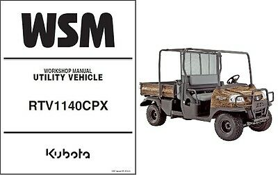 kubota rtv1140cpx utility vehicle utv service workshop shop repair