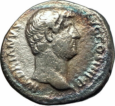 HADRIAN shaking hands with Fortuna Luck 134AD Silver Ancient Roman Coin i76700