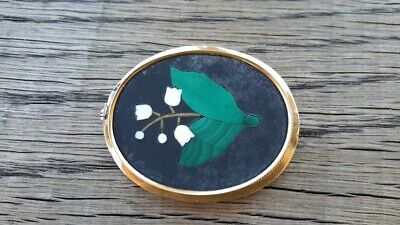 Pietra Dura Mosaic Large Antique Lilly of the Valley Brooch. Malachite. 14k Gold