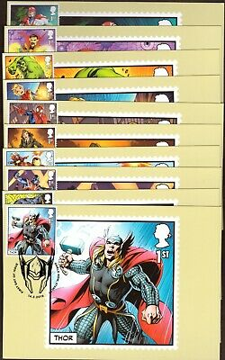GB 2019 Royal Mail Marvel Super Heroes  X10 PHQ cards different H/S Unaddressed