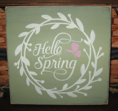 PRIMITIVE  COUNTRY HELLO SPRING~ celery green sm sq sign