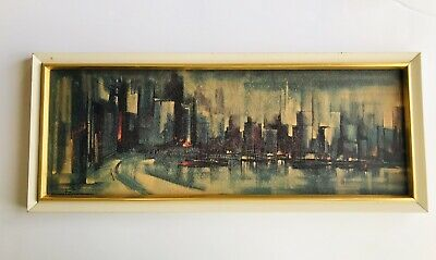 Vtg 50's 60's OZZ FRANCA Mid Century Modern Abstract City Print Framed Painting