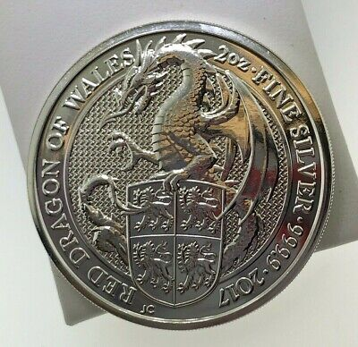 2017 ~ 2oz ~ RED DRAGON OF WALES ~ QUEEN'S BEAST SILVER COIN