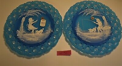Westmoreland Mary Gregory blue mist boy and girl summer scenes pair plates #11