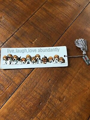 Adorable LIVE LAUGH LOVE Beagle PUPPY Bookmark