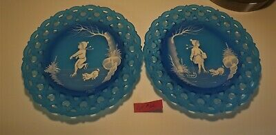 Westmoreland Mary Gregory blue mist boy and girl winter scenes pair plates #12