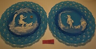 Westmoreland Mary Gregory blue mist girl summer and winter scene pair plates #13