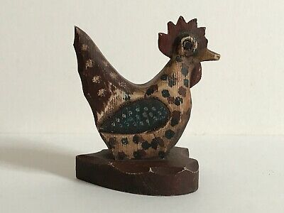 Primitive Folk Art Hand Crafted & Painted Wooden Rooster Signed 5""
