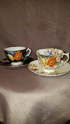 Set of 2 Vintage Aynsley Footed Poppy teacup & saucer Bone China Hand Painted