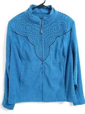 4d801fcccfcb27 BOB MACKIE WEARABLE Art Royal Blue Zipper Jacket w  Embroidery Size ...