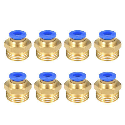 """8 Pcs 3/8"""" G Male Straight Thread 6mm Push In Joint Pneumatic Quick Fittings"""