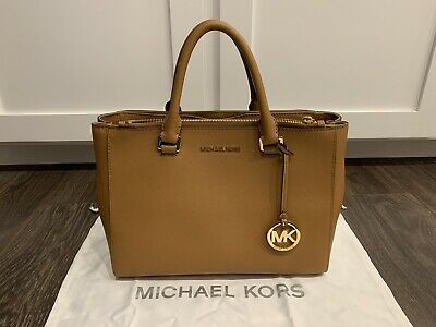 7e4e4249acb6 MICHAEL KORS KELLEN Saffiano Leather Satchel - ACORN with DUST BAG ...