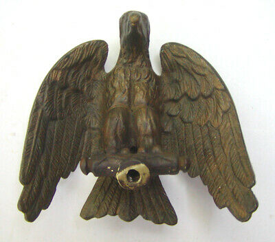 Vintage Heavy Cast Brass Detailed Eagle Flag Topper Finial Threaded Mount Hole