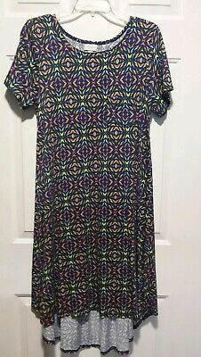 5eeca442ae10f LuLaRoe Carly Size S Stretch Multi Color on Blue Hi-Lo Hem Front Pocket  Dress