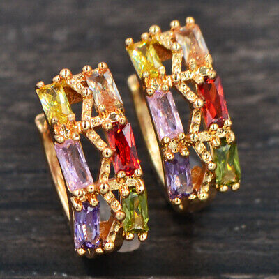 Fashion Women Gold Plated Two Rows Multi-Color Princess CZ Huggie Earrings 15MM