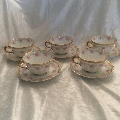 Rare Theodore Haviland Limoges France Pink Rose FIVE Cups and Saucers